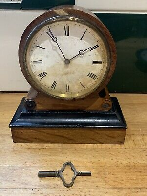 Antique Walnut And Ebony Drum Mantel Clock