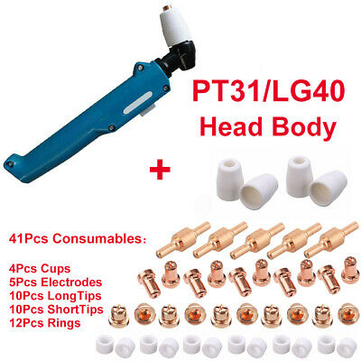 Plasma Cutter PT31/LG40 Torch Head & 41Pcs Consumables Electrode Tip Accessories