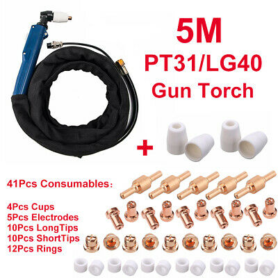 Plasma Cutter PT31/LG40 Torch 5M & 41Pcs Consumables Electrode Tip Accessories