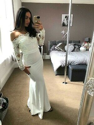 Quiz Aria White Lace Bardot Bridal Ballgown Evening Dress Womens UK Size 8 ❤