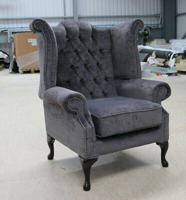 Georgian Chesterfield Queen Anne Buttoned High Back Wing Chair Dark Grey Fabric