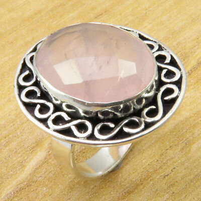 Rose Quartz Original Stone ! 925 Silver Plated OLD STYLE Ring Size 6.25 NEW