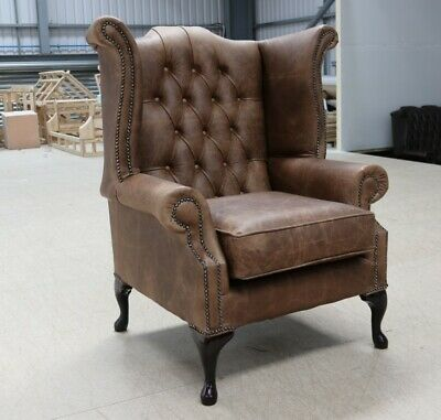 Georgian Chesterfield Queen Anne Wing Chair Vintage Distressed Wax Brown Leather