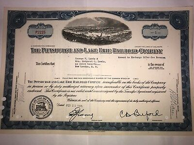 Pittsburgh & Lake Erie Railroad Company original stock certificate