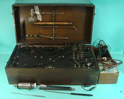 Vtg Edwards Scientific Violet Ray Quack Medical Device Wooden Box & Accessories