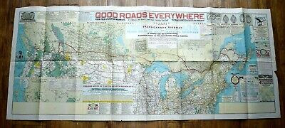 Amazing 1928 US/Canada Proposed Trans Canadian Highway Map Good Roads Everywhere