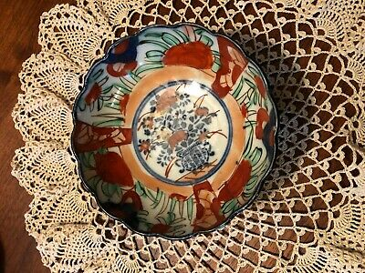 Antique Imari Japanese Porcelain  Scalloped Edge Small Bowl- Bouquet Center 5""