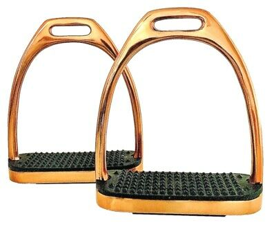 GLOSS ROSEGOLD SAFETY FLEXI STIRRUPS HORSE RIDING S//STEEL WITH BLACK TREADS