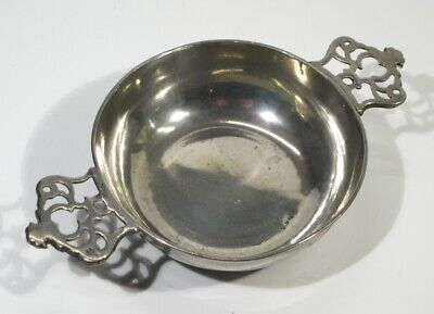 Antique Two Handled Pewter Porringer by William Wright of London.