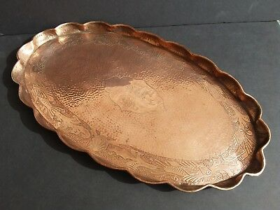 Antique Arts & Crafts Hand Hammered Copper Oval Tray Scalloped Edge 1929 w/ Fish
