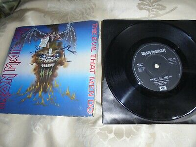 "Iron Maiden THE EVIL THAT MEN DO 7"" Vinyl Single EMI 1988 A1 B1 PRESSING"