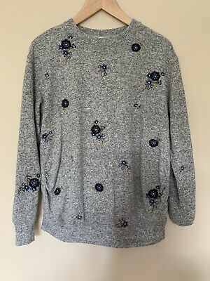 H&M Mama Grey Floral Embroidered Maternity Jumper Size M