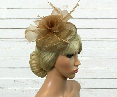 Ladies Sinamay Fascinator Taupe/Coffee Beige Floral Feathers Headband Fitting