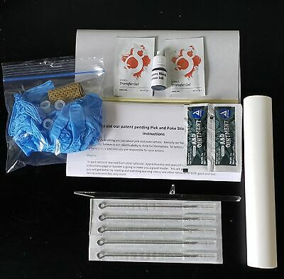 DIY Stick and Poke Tattoo starter kit, 5 needles, ink, instructional guide.