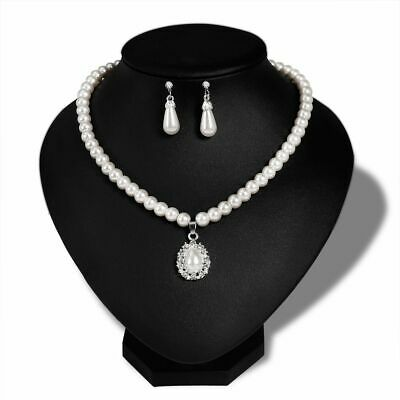 Women Pearl Crystal Pendant Necklace Earrings Bridal Wedding Jewelry Set Gift