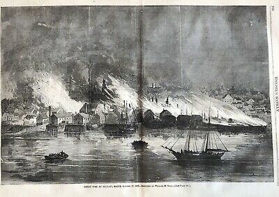 BEST 1865 newspaper GREAT FIRE OF BELFAST MAINE DESTROYS TOWN Disaster ENGRAVING