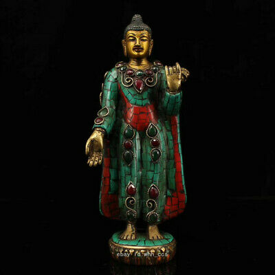 Tibetan Buddhism Old pure copper Handmade Painted gold Release 迦摩尼佛祖