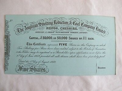 Anglican Smelting Reduction & Coal Neston Cheshire 1858 Share Cert. For 5 Shares