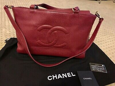 002fd311b420 Authentic Chanel Vintage Timeless Red Tote Caviar Leather