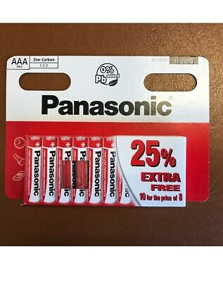 10 x AAA/ LR03 Genuine Long Life/lasting PANASONIC Zinc Carbon Batteries 1.5V