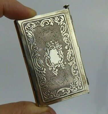Antique Austrian Silver Aide Memoire / Dance card with propelling pencil c19th
