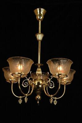 Victorian 1890'S 5 Arm Gas Ornate Reproduction Polished Brass Chandelier
