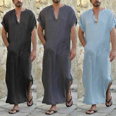 Mens Cotton Linen Abaya Kaftan Long Home Robe Loungewear V-Neck Loose Sleepwear