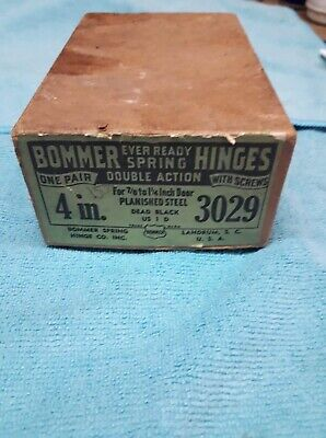 "VTG  Bommer Spring butt  Hinge Double Action  Black 4"" new"