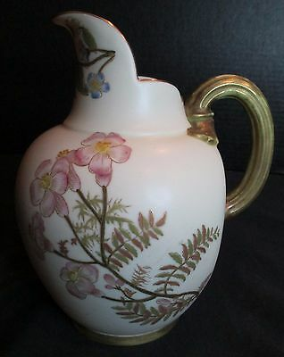 """Antique Royal Worcester England Pitcher 1094 #29115 Floral Hand Painted 6 1/4"""""""