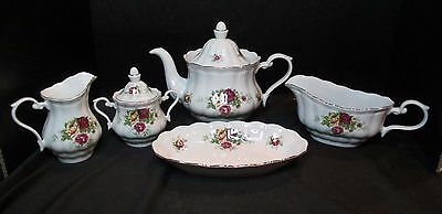 Crystal Clear Fine Porcelain English Rose 5 Piece Serving Teapot Sugar Creamer