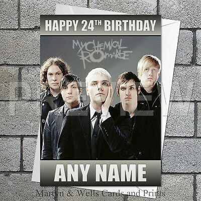 """PERSONALISED MY CHEMICAL ROMANCE CAKE TOPPER 10/""""X8/"""" A4 ICING SHEET ANY NAME AGE"""