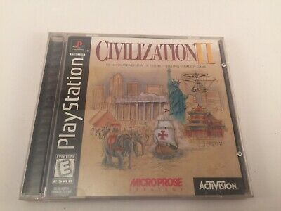 Civilization II (Sony PlayStation 1, 1998) Black Label Complete