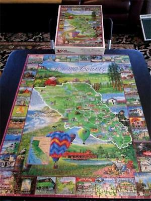 Vintage SONOMA COUNTY Wine Winery Vineyards Country Jigsaw Puzzle, Collage, 1000