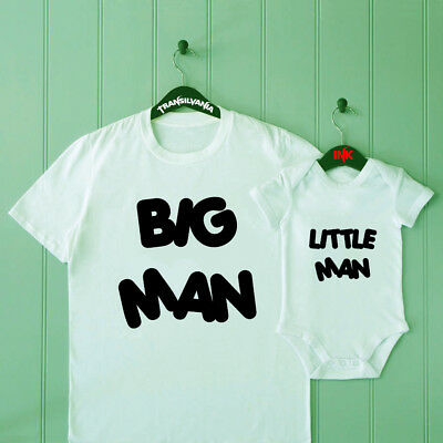 Big Man Little Man Dad and Son Matching T Shirt Baby Shower Bodysuit Father Gift