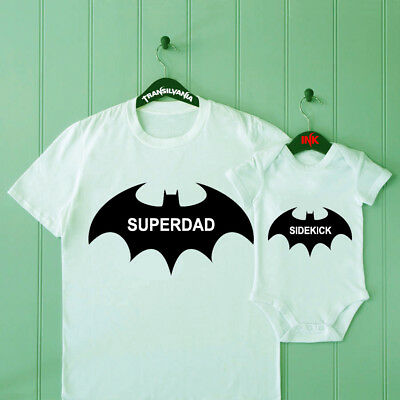 Superdad Sidekick Dad and Son Matching T Shirt Baby Shower Bodysuit Father Gift