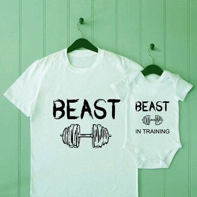 Beast Dad and Son Matching T Shirt Baby Shower Bodysuit Father Tee Gift