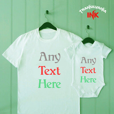 Personalised Dad and Son Matching T Shirt Baby Shower Bodysuit Father Gift