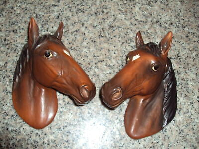 Pair Of Vintage Porcelain Horse Heads Wall Plaques H3321 Mint ID:43072