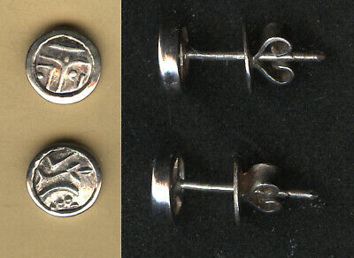 Vintage Silver old Indian coin design earrings Laos 1980  unique