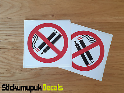2 x No Smoking / Vaping SAFETY WARNING 90mm Stickers For Doors or Vehicles taxi