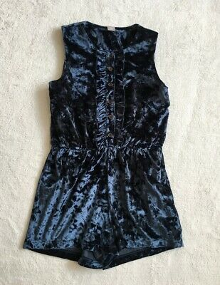 ***TU girls Blue Velour party playsuit 8 years WORN ONCE***