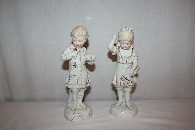 Antique Vintage Pair Victorian Children Boy Girl Doll Gemany Porcelain Ceramic