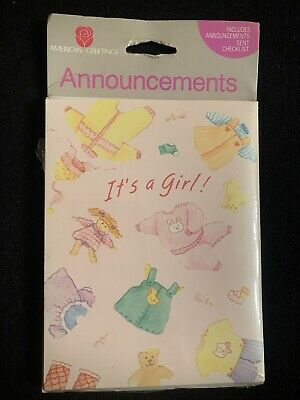 Baby IT'S A GIRL! Birth Announcements Vintage American Greetings Corp. NEW