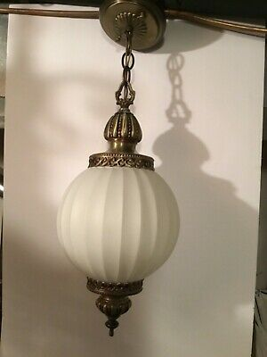 Working Vintage Mid Century Glass Swag Chandelier Hanging Lamp Light 💡💡💡