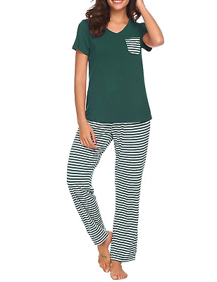caf8040fc0d Hotouch Womens Pajama Set Striped Printed Pajama Shirt and Stripe Pant Dark  L