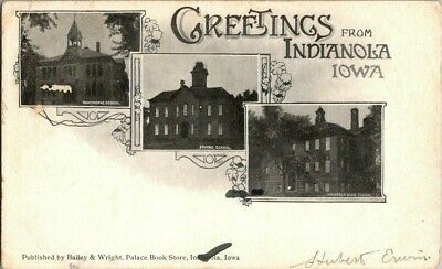 1905. GREETINGS FROM INDIANOLA, IOWA. SCHOOL HOUSES. POSTCARD w8