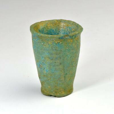 An Egyptian Blue-Green Faience Offering Cup for Seti I, New Kingdom, ca. 1550 -