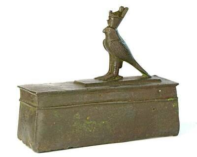 An Egyptian Bronze Horus Falcon on a Sarcophagus, 26th Dynasty, ca. 646-525 BCE