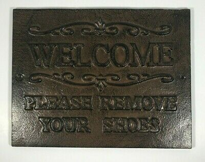 Cast Iron Welcome Sign Please Remove Your Shoes - Antique Style Home/Wall Decor