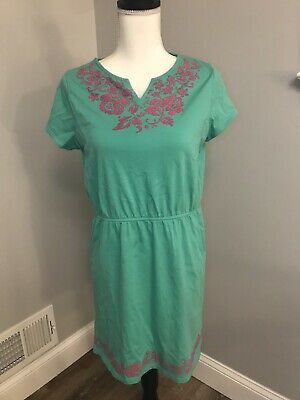 c94a9b5aec63d Lands' End Girls Green Pink Floral Embroidered Dress Swim Cover Up Size XL  16